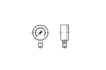 "Manometer - Glycerine 63mm - RVS kast -1/4"" BSP draad - 0-100 bar product photo"
