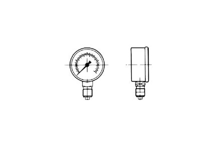 "Manometer - Glycerine 100mm - RVS kast - 1/2"" BSP draad - onderaansluiting - schaalverdeling - 0-600 bar product photo"