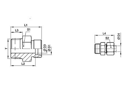 Przyłączka Prosta do Rur Metrycznych 24° DIN 2353 - MĘSKA Metryczna Gwint Stożkowy - seria Super Lekka product photo