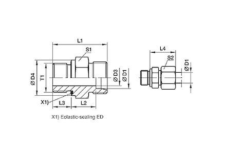 Připojovací adaptér GE pro metrické trubky 24° DIN2353 závit BSPT super lehká řada product photo