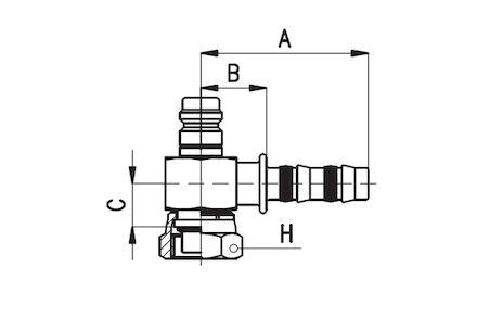 Końcówka do Węży Klimatyzacyjnych (Frigoclic) - wersja krótka oring ŻEŃSKA 90 KOLANKO Zawór wysokiego ciśnienia - UNS product photo
