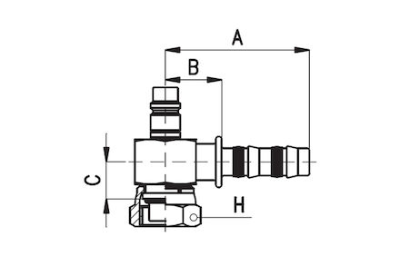 Koeling/airco slangkoppeling - blok uitvoering O-ring female 90° bocht lagedrukventiel product photo